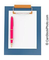 paper., clipboard., blad, pen, lege