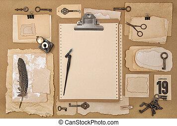 Paper clipboard scrapbooking writing tools Vintage flatlay ink pen
