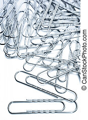 Paper clips  - Metal paper clips on white