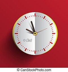 Paper Clock Face Vector Illustration. Analog Time Symbol.