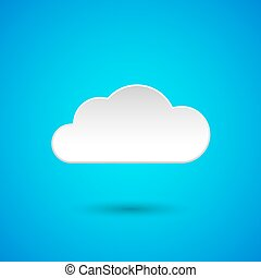 Paper cloud with shadow on blue