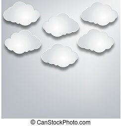 paper clouds on a background paper