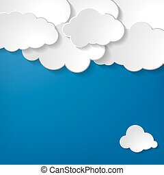 paper clouds on a blue background