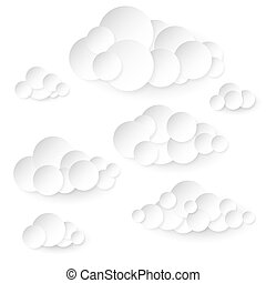 Paper clouds. - Paper clouds made of circles. Variation in...