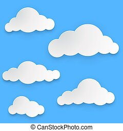 Paper clouds vector template isolated on blue background.
