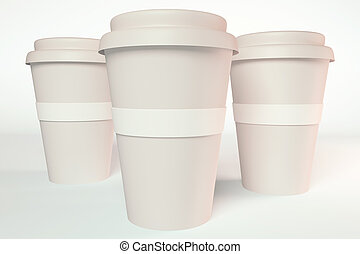 3d render of three paper coffee cup
