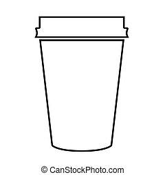 Paper coffee cup black color icon .
