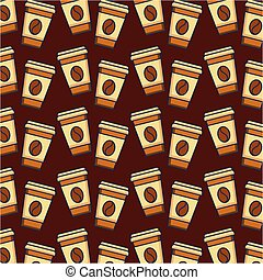 paper coffee cup drink fresh seamless pattern
