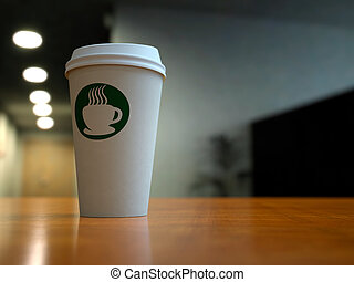 Paper Coffee Cup In Office - A paper coffee cup in an office...