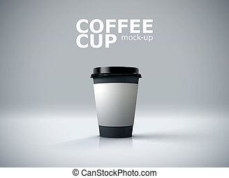 Paper coffee cup mockup. Vector realistic 3d illustration. ...