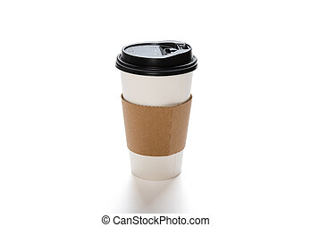 paper coffee cup on white with clipping path
