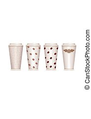 Paper coffee cup set. Vector EPS10 illustration