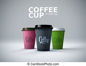 Paper coffee cups mockup.