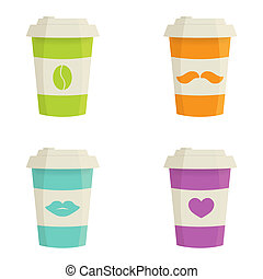 Paper coffee cups set on a white background. Vector ...