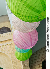 paper colorful lantern on the street for decoration