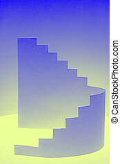 paper composition with stairs side view