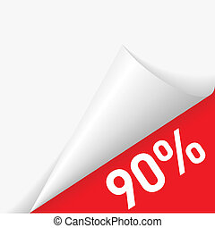 Paper corner discount - 90 percent discount under folded...
