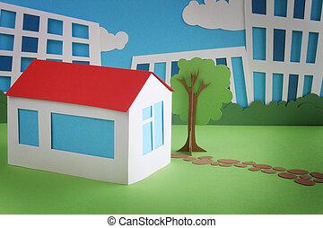 Paper cottage over city background real estate concept
