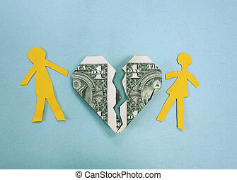 Paper couple and broken dollar heart - divorce or money trouble concept