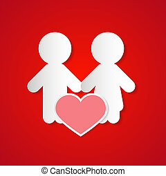 Paper Couple with Heart on Red Background