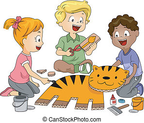 Paper Craft - Illustration of Kids Practicing Paper Craft