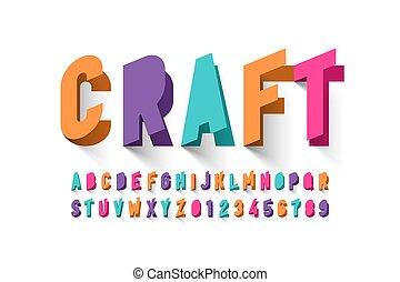 Paper craft style font design