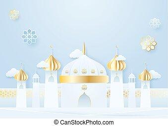 Paper craft style. Mosque background. Ramadan Kareem concept.