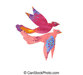 Paper craft watercolor colorful tropical birds on white