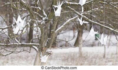 Paper cranes - Winter tree hanging paper cranes