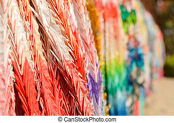 paper cranes of thousand in Japanese temple, Kyoto, Japan