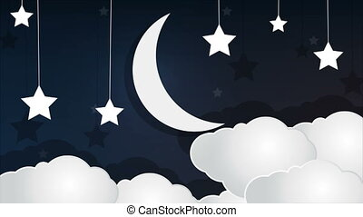 paper crescent cloud and stars in the sky - Paper crescent...