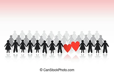Clip Art Line Of Hearts : Paper doll hearts a line of dolls with on clipart