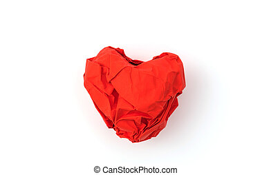 Paper crumpled heart on white background .