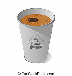 Paper cup and coffee vector with logo