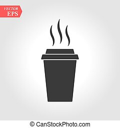 Paper cup icon in flat style. Drink icon. Fast food. Vector isolated illustration.