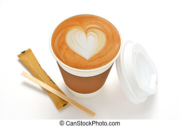 Paper cup of cafe latte