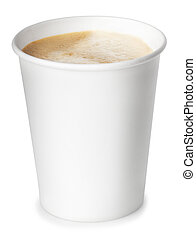 Paper cup of coffee isolated on white background with clipping path