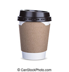 Paper cup of coffee Isolated white background with clipping path