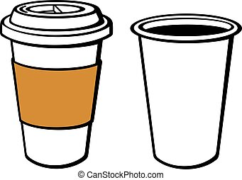 paper cup of coffee (take-out coffee, coffee in takeaway cup...