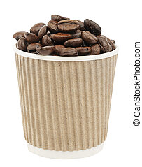 Paper cup with coffee beans