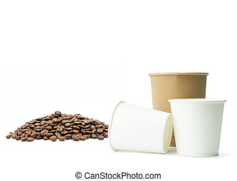 Paper cup with coffee beans on isolated white