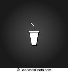 Paper cup with drinking straw icon flat.