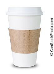 Paper cup with Sleeve before white background - Paper cup...