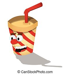 Paper cup with straw cartoon character.