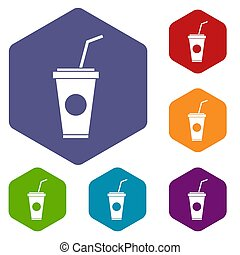 Paper cup with straw icons set rhombus in different colors...