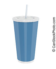 Paper cup with straw - Fast food paper cup with straw...