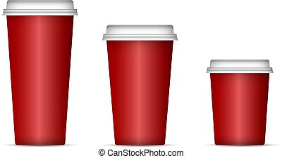 Paper cups for coffee or tea with lid Mockup