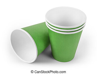 Stacked green paper cups
