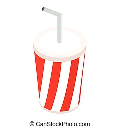 Paper cups with drink isometric 3d icon