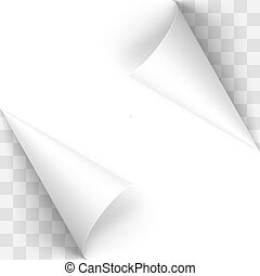 Paper Curl - Curled White Papers Corners on Transparent...